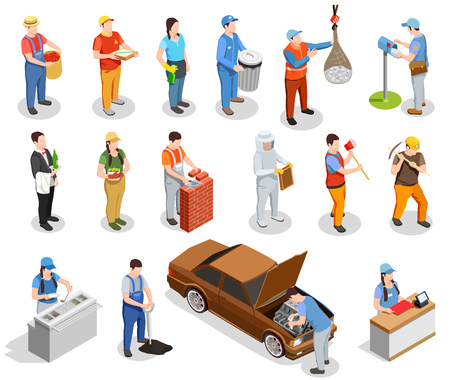 Worker professions including builder, auto mechanic, cook, postman, miner, cashier, garbage collector isometric people isolated vector illustration