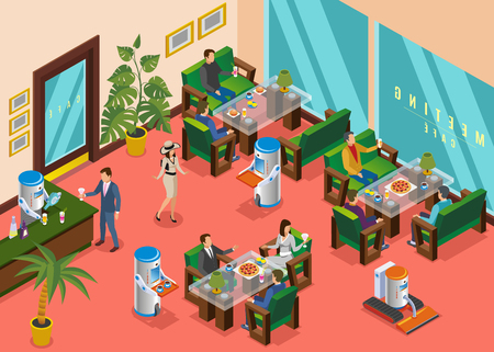 Isometric colored robotic restaurant composition hall with visitors serviced by robots waiters vector illustration Illusztráció