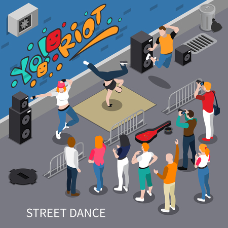 Performers of street dance on graffiti background isometric composition with audio equipment, spectators, vector illustration