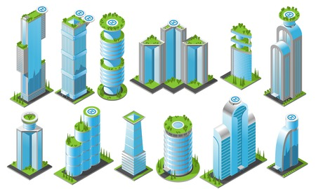 Isometric futuristic skyscrapers icon set with different styles office buildings of heights and shapes vector illustration