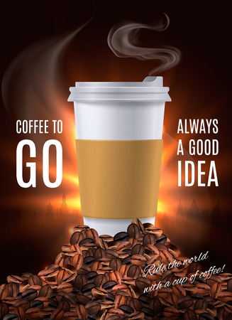 Coffee to go advertisement composition with plastic cup of hot drink covered by lid realistic vector illustration    Illustration