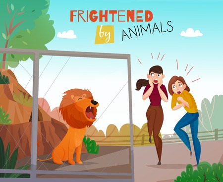 People frightened by wild animals in the public zoo flat vector illustration