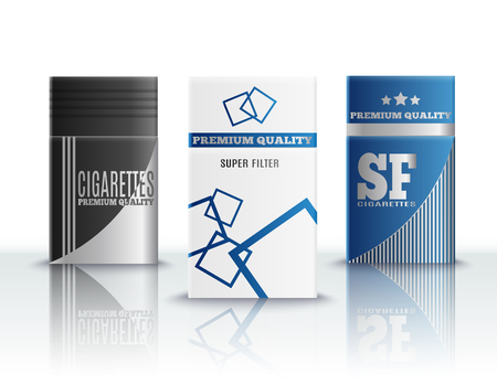 Premium quality cigarettes stylish hard packs design realistic set of 3 on reflective surface 3d vector illustration