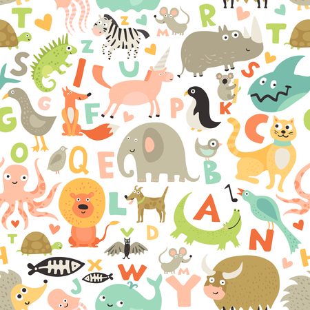 Children first abc seamless pattern with kids favorite funny animals pictures for each alphabet letter vector illustration Illustration