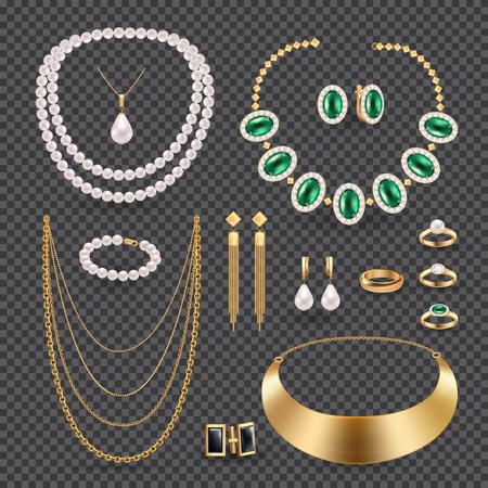 De realistische transparante reeks van juwelentoebehoren met ringenhalsband en oorringen geïsoleerde vectorillustratie