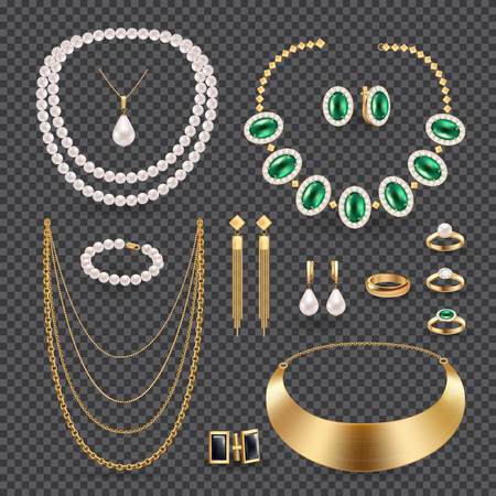 Jewelry accessories realistic transparent set with rings necklace and earrings isolated vector illustration