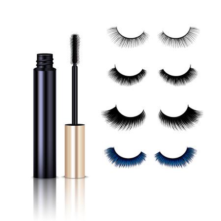 Set of realistic false eye lashes with mascara isolated on white background vector illustration
