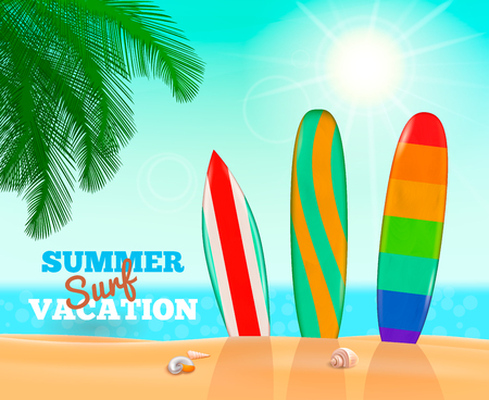 Surfboards realistic composition of surf beach landscape with sand sea clear sky and three colourful paddleboards vector illustration Illustration