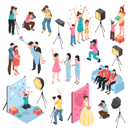 Professional photographer studio isometric elements collection with lighting equipment wedding fashion birthday celebrations family shooting vector illustration Banque d'images - 100644069