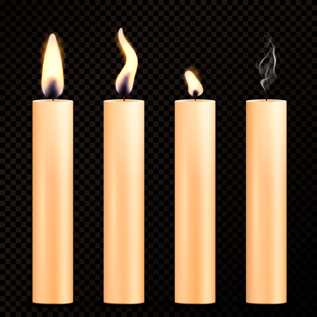 Four isolated images of burning orange candles in realistic style on dark transparent background vector illustration  Ilustração
