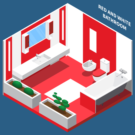 Red and white bath room interior with plumbing and decoration from plants isometric composition vector illustration Illustration