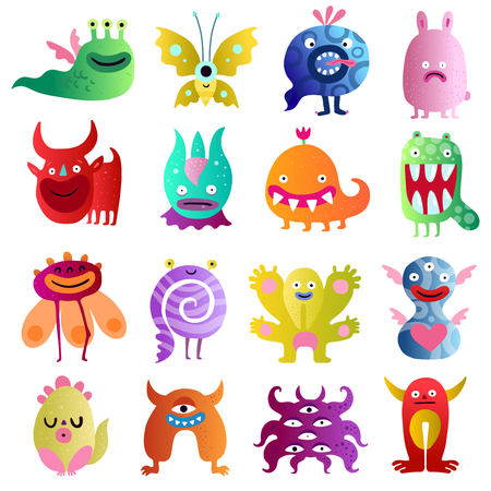 Funny monsters big colorful collection with bull scared plant peanut in love  spiral creatures isolated vector illustration