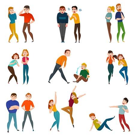 Icônes de personnes et d'émotions sertie de symboles de sentiments positifs et négatifs illustration vectorielle plane isolé Vecteurs