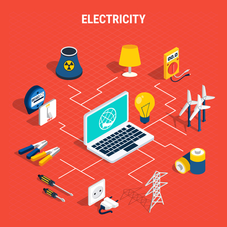 Electricity isometric composition with elements of chart and branches from laptop to elements vector illustration