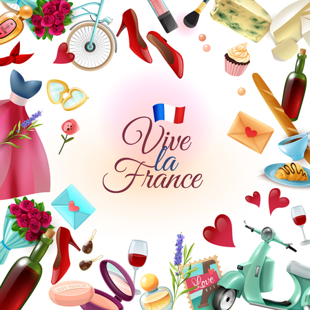 France paris frame background with french landmarks including eiffel tower, food, perfume and cosmetics vector illustration