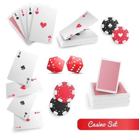 Casino supply realistic accessories set with playing cards set poker chips and dices white background vector illustration