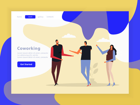 Coworking landing page with creative team, interface elements, menu, buttons on color background, flat vector illustration   Illustration