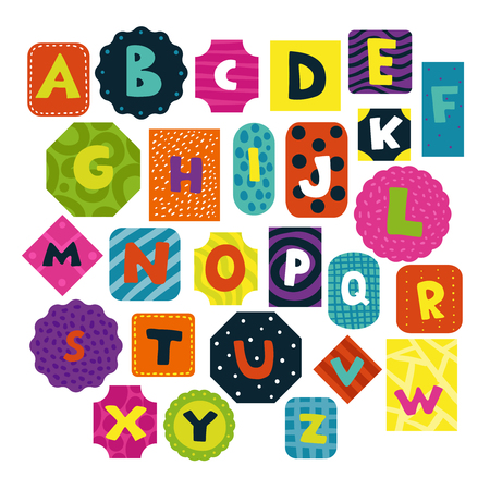 Children alphabet funny shaped and textured letters cards collection for preschoolers toddlers little kids isolated vector illustration    Vectores