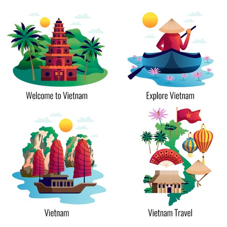 Vietnam 2x2 design concept with traditional clothes accessories cultural and architectural national landmarks cartoon vector illustration