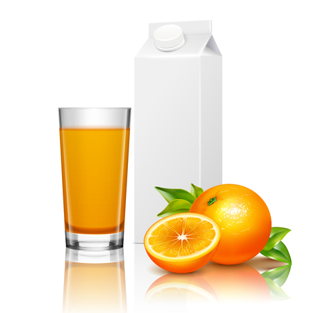 Blank cardboard packaging and glass of fruit juice with oranges and green leaves realistic composition vector illustration