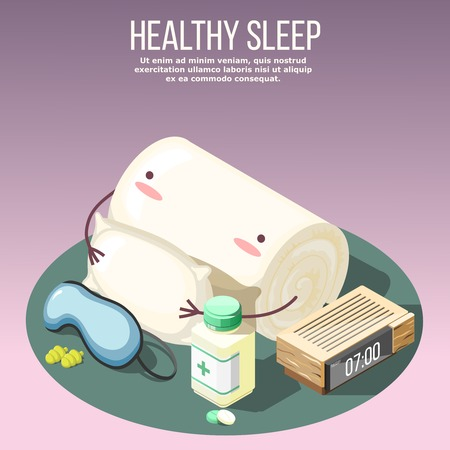 Healthy sleep isometric composition on lilac background with pillow, medicines, mask and ear plugs, clock vector illustration Illustration