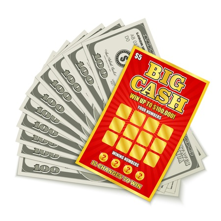 Carte de loterie à gratter gros jeu d'argent gagner une composition réaliste avec des billets de cent dollars prix argent illustration vectorielle