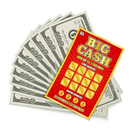 Rasca la tarjeta de lotería gran juego en efectivo ganar composición realista con billetes de cien dólares premio dinero vector ilustración