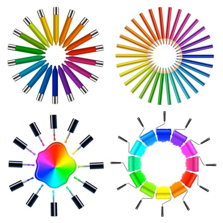 Circular art objects collection with pleasing parts arrangement based on color wheels schemes theory isolated vector illustration
