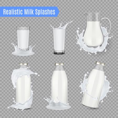 La leche salpica un conjunto transparente de botellas de jarra y vasos de precipitados de vidrio y llenos de leche ilustración vectorial realista Ilustración de vector