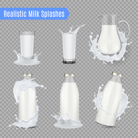Milk splashes transparent set of jug bottles and beakers made of glass and full of milk realistic vector illustration