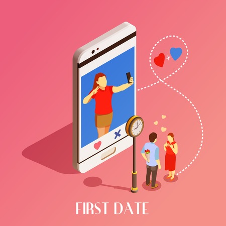 First date under clock design concept with young man invited girl on date with dating application isometric vector illustration Vettoriali