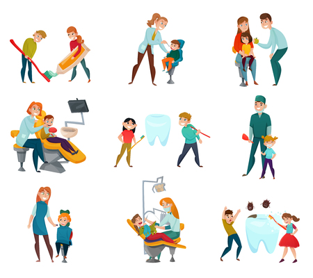 Pediatric dentist icons set with kids and medical treatment symbols flat isolated vector illustration