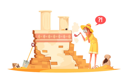 Scientist in hat with brush during archaeological works with ruin of ancient architecture cartoon vector illustration Vettoriali