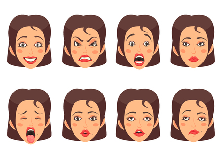 Women facial gestures happiness surprise disgust sadness emotions 8 cute mouth cartoon icons set isolated vector illustration 일러스트