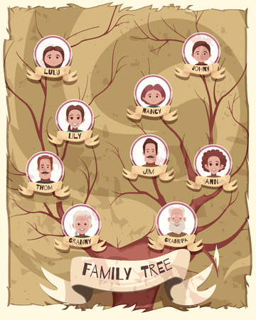 Family tree poster with pictures of grandparent, mature persons and young generation cartoon vector illustration