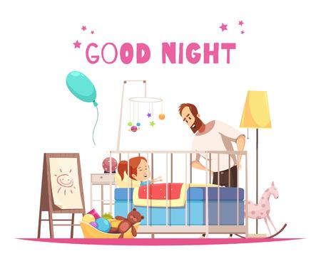 Composition de la chambre des enfants avec le père qui souhaite bonne nuit à sa fille avant de dormir illustration vectorielle de dessin animé