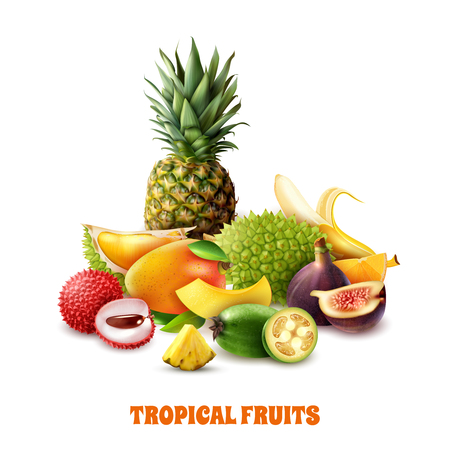 Composition from colorful exotic tropical fruits on white background 3d vector illustration