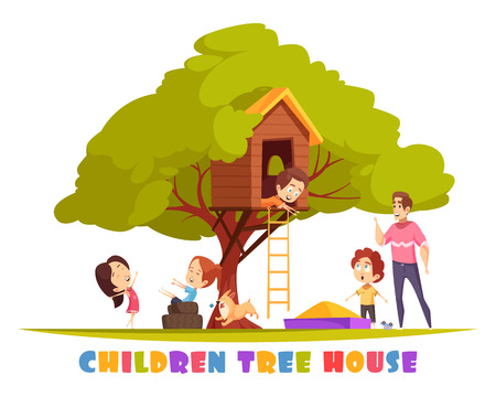 Tree house with hanging ladder, sand box, joyful children, puppy and smiling man cartoon vector illustration Иллюстрация