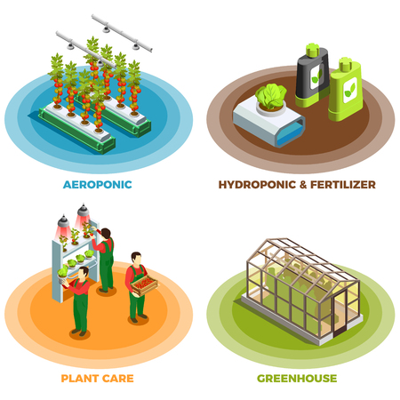 Hydroponic and aeroponic 2x2 design concept with fertilizer greenhouse plant care isometric elements vector illustration.