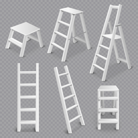 Multi purpose ladders realistic 3d collection including folding standing leaning and step stool transparent white vector illustration Ilustrace