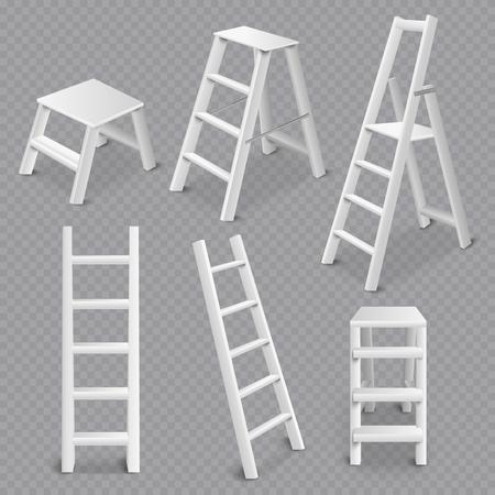 Realistische 3D-Sammlung von Mehrzweckleitern, die die transparente weiße Vektorillustration der stehenden stehenden Neigung und des Schritthockers zusammenfaltet