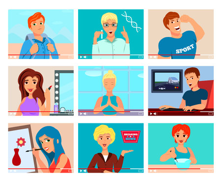 Popular video bloggers 9 flat icons set with cooking painting travel fitness meditation topics.