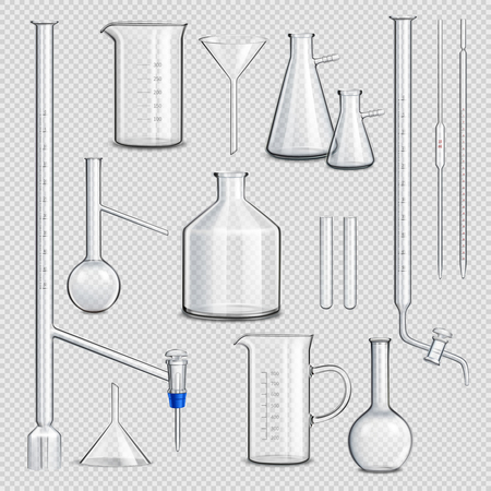 Laboratory glassware transparent set with science symbols realistic isolated vector illustration Stock Illustratie