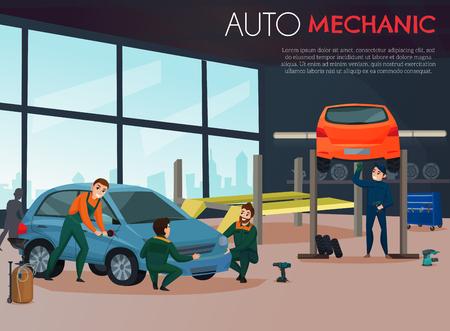 Car service with auto mechanic and maintenance symbols flat vector illustration Illustration