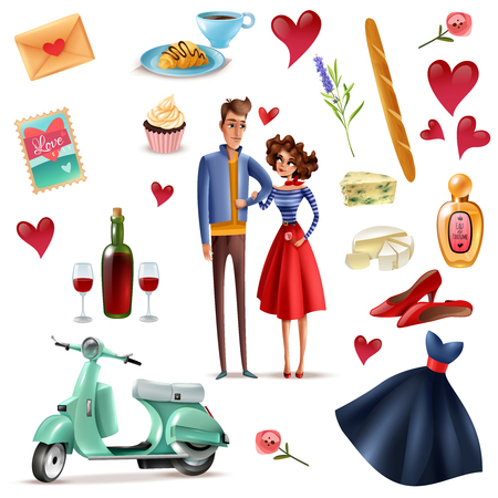 France and paris cartoon set with couple in love eiffel tower baguette cheese with mold perfume bottle isolated vector illustration