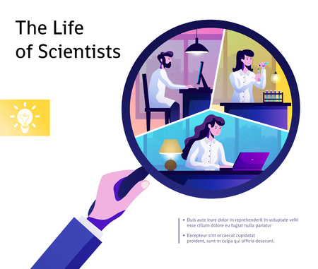 Young scientists life through magnifying glass symbolic poster with text and research work abstract composition vector illustration 일러스트