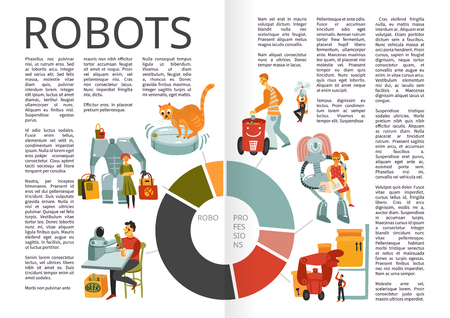 Robots with duties barman,  trash can, nanny infographics book pages with chart hand drawn vector illustration