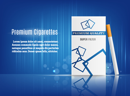Premium cigarettes realistic composition advertisement poster with hard pack on sea blue reflective surface and background vector illustration