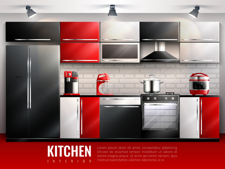 Kitchen interior modern design concept in realistic style with household equipment appliances and utensil flat vector illustration