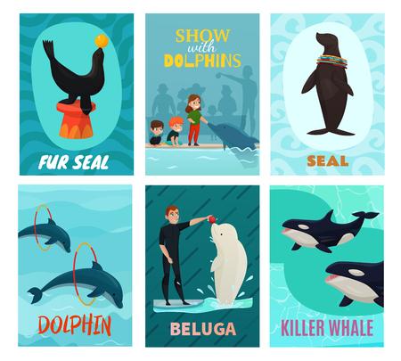 Dolphinarium show cards set with seal and beluga symbols flat isolated vector illustration Ilustracja